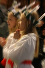 Johanna i luciatåget på Agnetebergsskolan